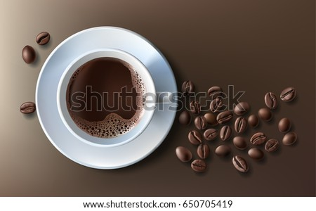 stock-vector-vector-illustration-of-a-realistic-style-of-white-coffee-cup-with-a-saucer-and-coffee-beans-top