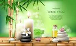 Vector illustration of a realistic style, set for spa treatments with aromatic salt, massage oil, candles on the background of bamboo shoots. Excellent green advertising poster for the spa salon.