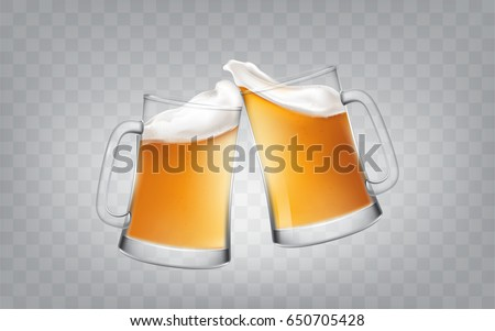 Vector illustration of a realistic style two glass toasting mugs with beer, cheers beer glasses. Print, template, design element