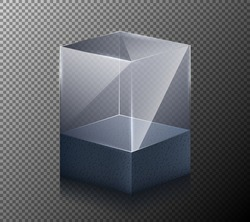 Vector illustration of a realistic, transparent, glass cube isolated on a gray background. 3-D design