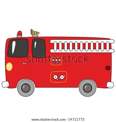 Vector illustration of a red cartoon firetruck