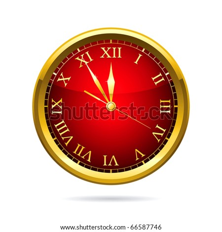 Vector illustration of a red clock.