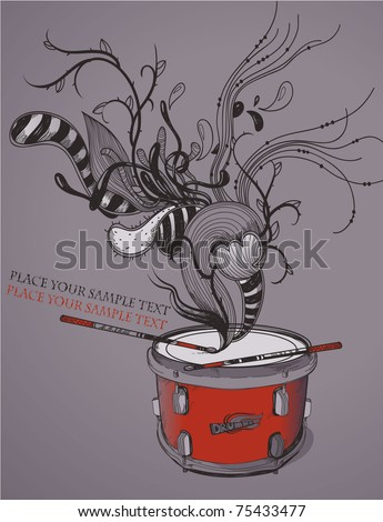 vector illustration of a red drum with colorful drumsticks and abstract sound