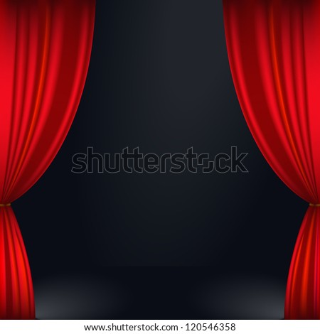 Vector illustration of a red stage curtain