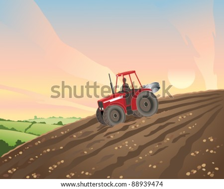 vector illustration of a red tractor going down a hill at sunset in eps 10 format - stock vector