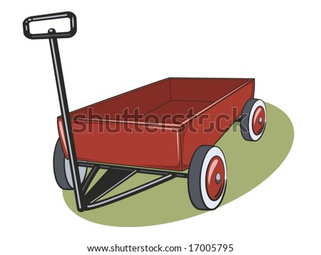 vector illustration of a red wagon