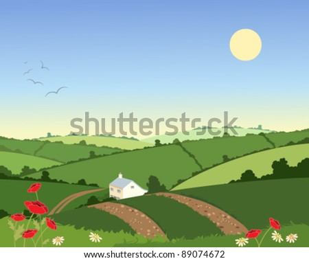 vector illustration of a remote country cottage set in green hills under a blue sky in eps 10 format