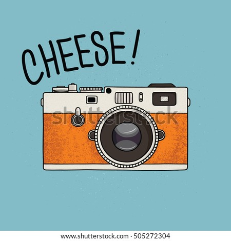 Vector illustration of a retro photo camera. Vintage photo camera icon.