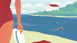 Vector illustration of a river beach with people swiming, sunbathing and having fun. Recreation center building on the shore of the river. Girl in a swimsuit and a hat enjoying the view