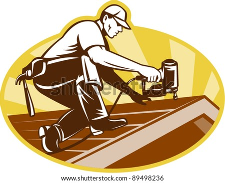 vector Illustration of a roofer roofing worker working on roof with nail gun with sunburst in background done in retro style.