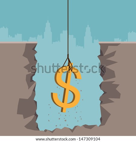 Vector illustration of a rope pulling out a dollar currency sign from the earth.