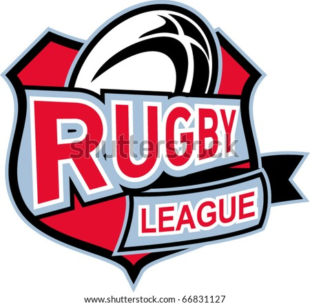 """vector illustration of a rugby ball set inside shield with words """"rugby league"""""""