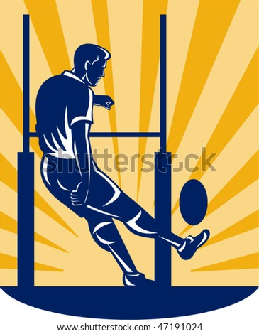 vector illustration of a rugby player kicking at goal post