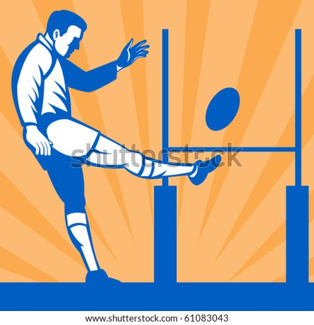 vector illustration of a Rugby player kicking ball at goal post