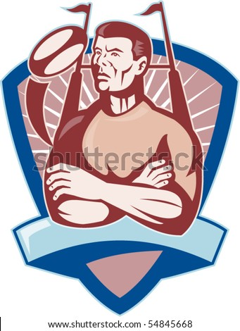vector illustration of a Rugby player looking up with ball and goal post