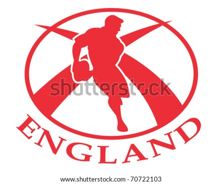 vector illustration of a rugby player passing the ball side view set inside oval or ball with English flag and words England - stock vector