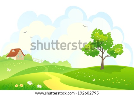 vector illustration of a rural