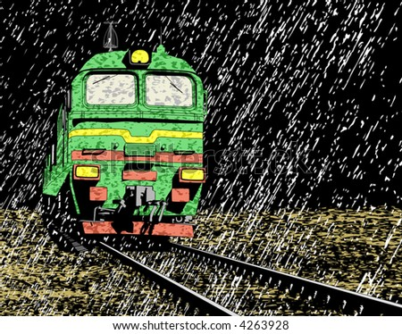 Vector illustration of a Russian train in rain at night