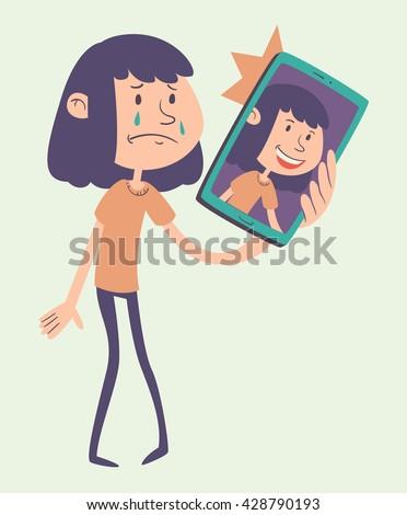 vector illustration of a sad