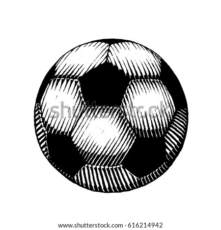 Vector Illustration of a Scratchboard Style Ink Drawing of a Soccer and Football Ball