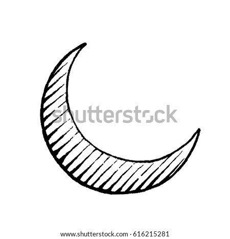 Vector Illustration of a Scratchboard Style Ink Drawing of Moon