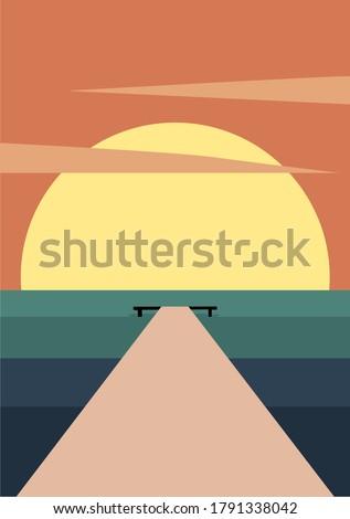 vector illustration of a sea