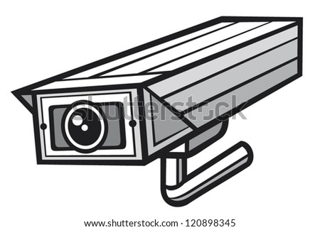 vector illustration of a security camera (security alarm cctv, camera surveillance, outdoor security camera)