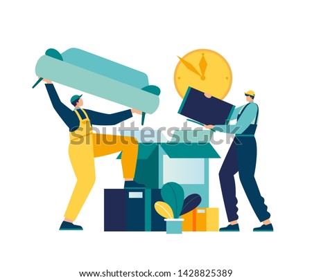 Vector illustration of a service for moving and transporting things and objects. vector hypertrophied flat people pack and transport furniture to a new place