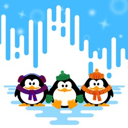 Vector illustration of a set cute little penguin in a knitted hat on winter abstract striped 