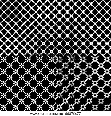 Vector illustration of a set of abstract patterns on black background