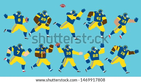 Vector illustration of a set of American football players running and playing in different positions wearing blue jerseys and yellow pants. Editable vector illustration