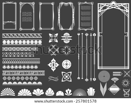vector illustration of a set of art deco hi tech borders frames and other design elements for. Black Bedroom Furniture Sets. Home Design Ideas