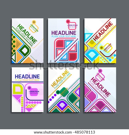 Vector illustration of a set of brochures. Cover design of geometric and abstract shapes of red, yellow, green. They are used for posters, leaflets. A4 format, eps10 vector templates. #485078113