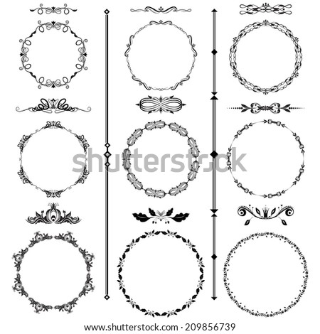 Vector illustration of a set of calligraphic frames and divider elements in black isolated on white