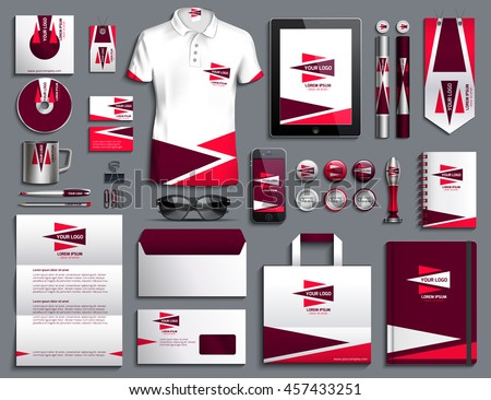 Vector illustration of a set of corporate style. Classical corporate style design of a template red, claret, white. A set of objects for business