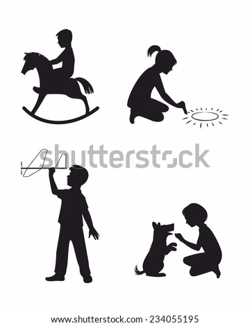 stock-vector-vector-illustration-of-a-set-of-four-children-playing