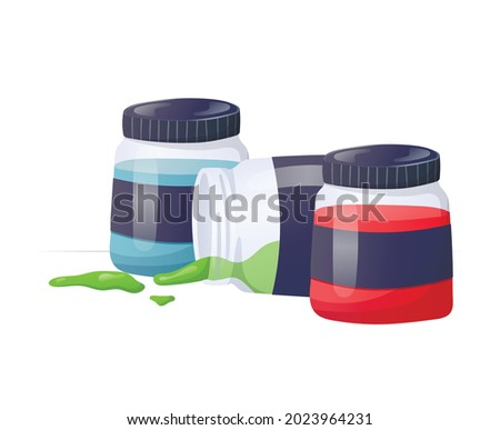 Vector illustration of a set of glass jars with multi-colored paints. One of the open cans lies on its side, drops of paint have spilled out. Foto stock ©