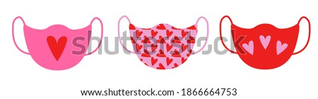 vector illustration of a set of medical masks with Saint Valentine Day pattern print 2021.Holiday protective romantic pink and red masks сoronavirus with hearts.Accessories for character's face