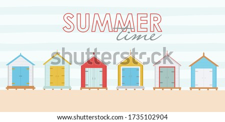 Vector illustration of a set of multicolored beach houses and text: summer time. Postcard with a drawing of a landmark beach colored sheds. Foto stock ©