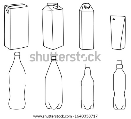 Vector illustration of a set of plastic bottles and tetra pak.