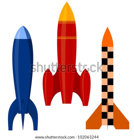 Vector illustration of a set of rockets. EPS10