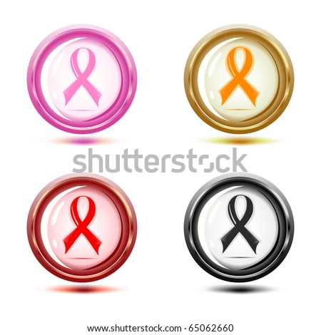 vector illustration of a set of support ribbon icons.