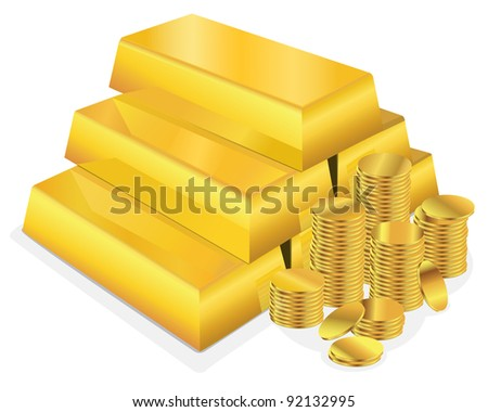 Vector illustration of a shiny stack of gold bars beside several stacks of gold coins on a white background.