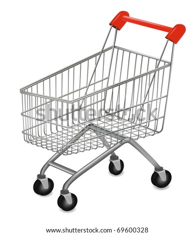 Vector illustration of a shopping cart on the white