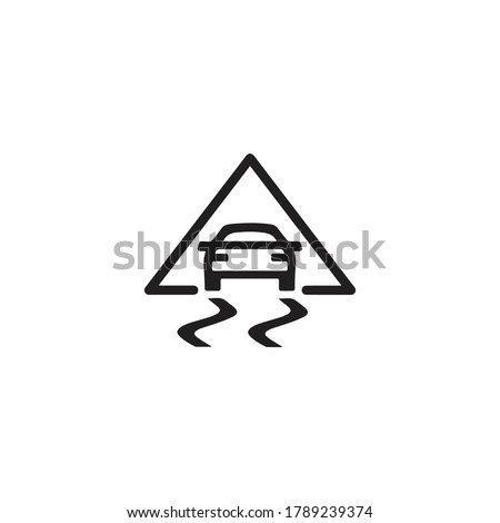 Vector illustration of a sign on the car dashboard on a white background. The icon indicates a problem with the Traction control.  Stockfoto ©