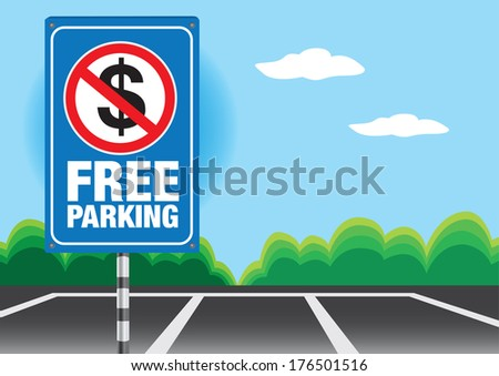 Vector illustration of a signboard showing free parking message