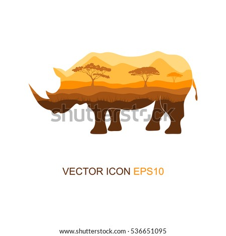 Vector illustration of a silhouette of a rhino  on isolated white background. Rhinoceros side view profile. Silhouette of rhinoceros. Logo. Vector illustration.