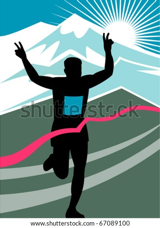 vector illustration of a silhouette of Marathon runner flashing victory hand sign done in retro style with mountains and sunburst and finish line ribbon tape