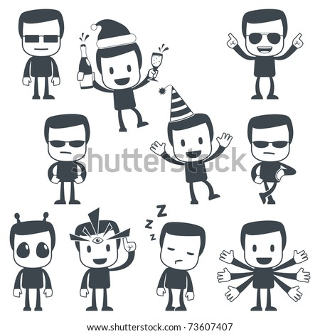 Vector illustration of a simple cute characters for use in presentations, manuals, design, etc.
