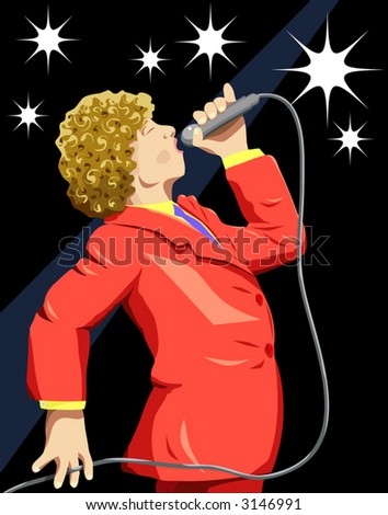 Vector illustration of a singer on stage with background as a separate layer